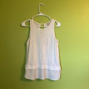 j.crew white layered hem tank top